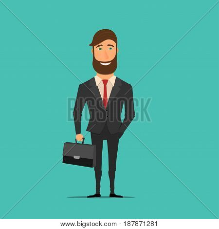 Business man character design. Vector illustration in flat style. Businessman with suitcase