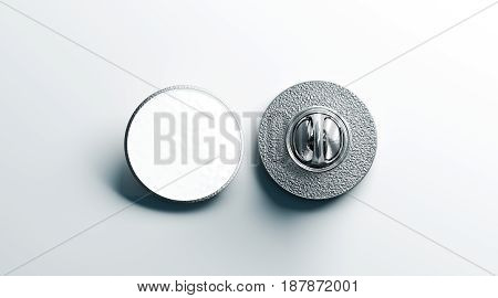 Blank white round silver lapel badge mock up front and back side view 3d rendering. Empty hard enamel pin mockup. Metal clasp-pin design template. Expensive curcular brooch for logo presentation