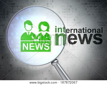 News concept: magnifying optical glass with Anchorman icon and International News word on digital background, 3D rendering