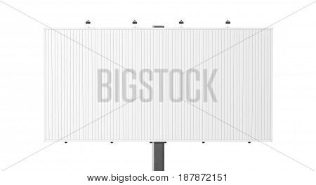Blank white trivision billboard mock up 3d rendering. Empty tri vision bill board design mockup isolated. Clear rotating prisma sign template. Sroll panels on plain city banner frame of prismavision