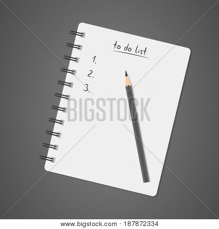 To do list white notebook with pencil diary check list task list vector illustration