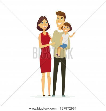 family - colored vector modern flat illustration composition of cartoon characters. Father, mother, young daughter. United and happy.