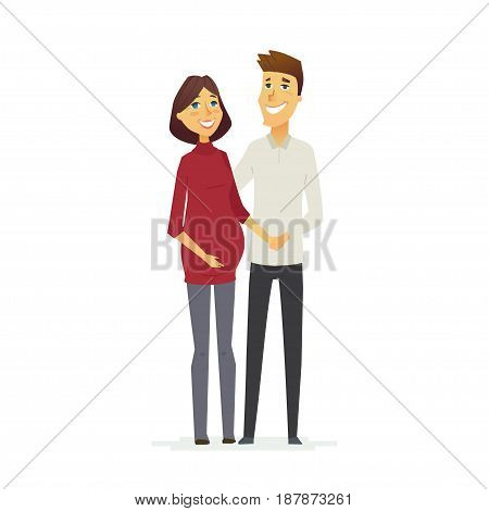 family - colored vector modern flat illustration composition of cartoon characters. Father, pregnant mother, baby. United and happy.
