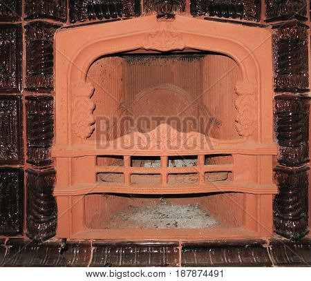 Classic luxury fireplace pilasters and a furnace with natural stone