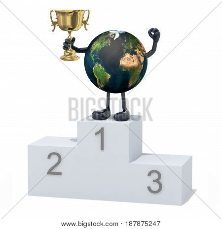 planet earth with arms legs and winner cup on sports victory podium 3d illustration