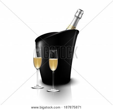 Vector illustration of Wineglass with black wine bottles of champagne in a bucket