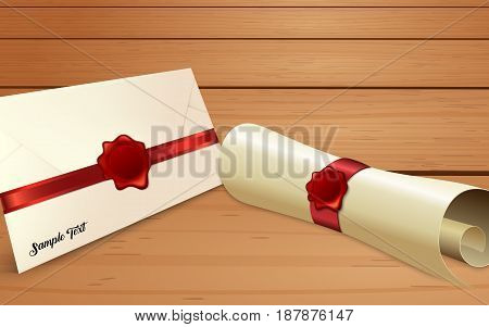 illustration of Envelope with paper scroll and red wax seal
