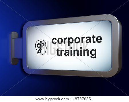 Studying concept: Corporate Training and Head With Gears on advertising billboard background, 3D rendering