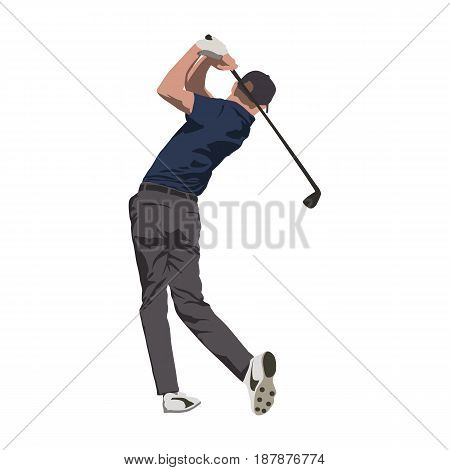 Golf player swinging with club isolated vector illustration
