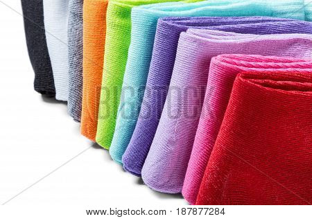 Bright multicolored socks isolated on white background