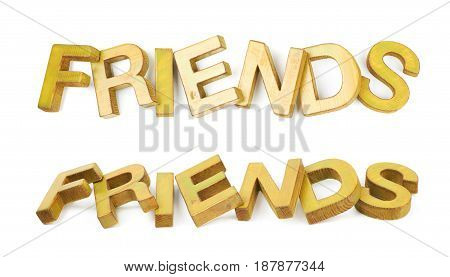 Word Friends made of colored with paint wooden letters, composition isolated over the white background, set of two different foreshortenings