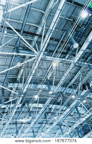 Structure of the metal ceiling of the building, Toned image
