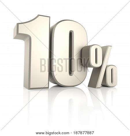 10 percent isolated on white background. 3d render