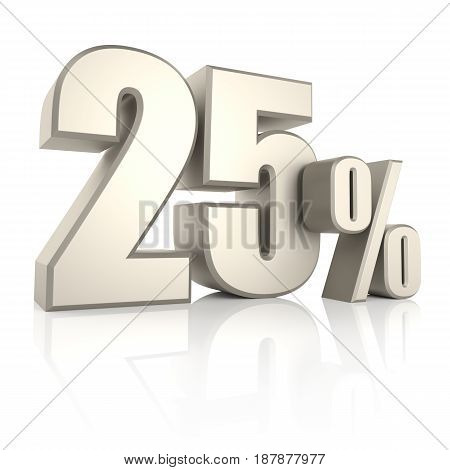 25 percent isolated on white background. 3d render