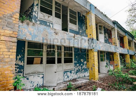 Obsolete Soviet Pioneer children camp in Voronezh, Russia, ancient abandoned building, haunted and damaged by time house