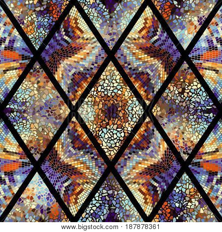 Seamless background pattern. Abstract geometric pattern of rhombuses with mosaics.
