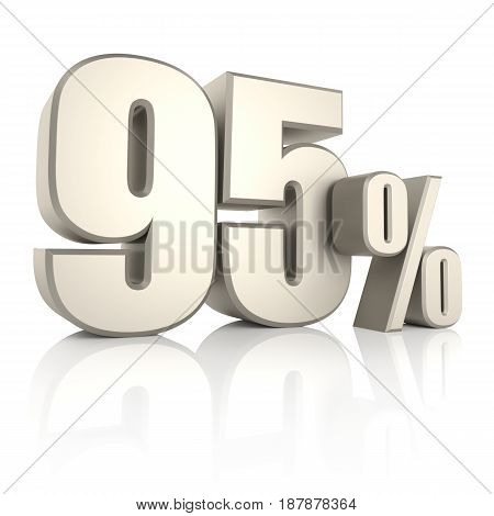 95 percent isolated on white background. 3d render