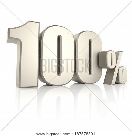 100 percent isolated on white background. 3d render