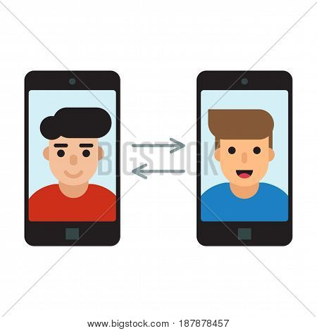 Two men communicate with mobile phones flat illustration.