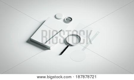 Book presentation design mockup elements 3d rendering. Blank objects mock ups bookish store presenting template. Bookshop branding identity set. Empty wobbler business cards pin textbook.