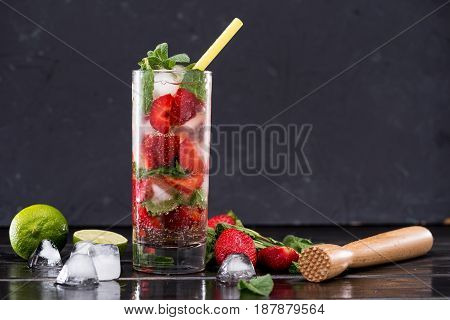 Strawberry Lemonade In Glass With Ice Cubes, Cocktail Bar Background Concept