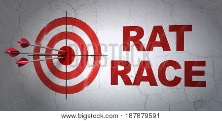 Success politics concept: arrows hitting the center of target, Red Rat Race on wall background, 3D rendering