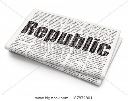 Political concept: Pixelated black text Republic on Newspaper background, 3D rendering