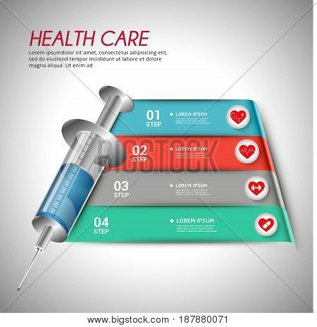 Medical health care infgraphic. Template for infographic vector 4 options. Can be used for workflow layout diagram banner web design.vector illustration.