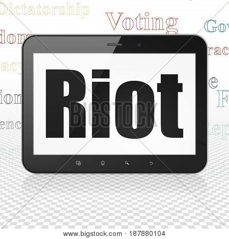 Politics concept: Tablet Computer with  black text Riot on display,  Tag Cloud background, 3D rendering