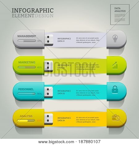 USB for information.business infographic option.can used for banner diagram workflow and web design layout presentation templates background.Vector illustration.