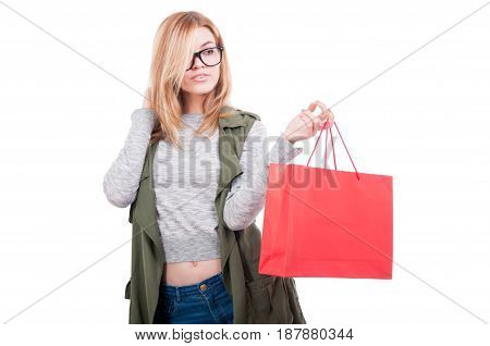 Beautiful Young Woman With Red Paper Bag