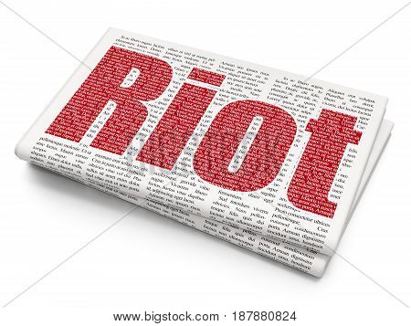 Politics concept: Pixelated red text Riot on Newspaper background, 3D rendering