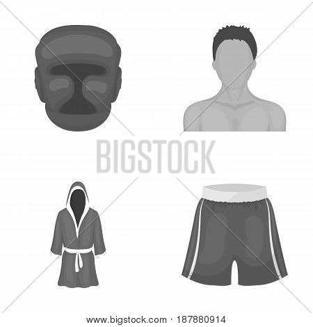 Boxing, sport, mask, helmet .Boxing set collection icons in monochrome style vector symbol stock illustration .