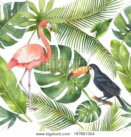 Watercolor seamless pattern of flamingo, toucan birds and palm trees isolated on white background. Hand painted illustration for design kitchen, bio food, menu, healthy eating, textiles, market.