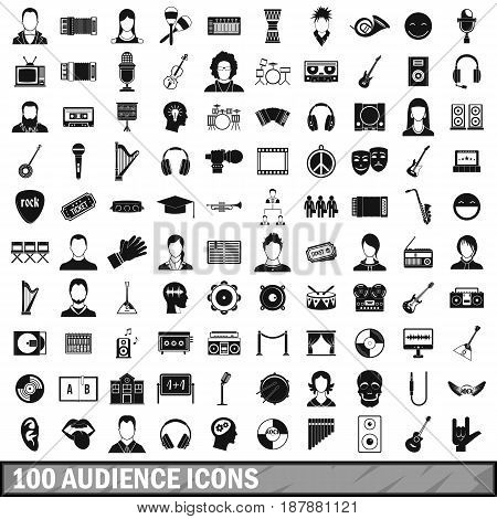 100 audience icons set in simple style for any design vector illustration