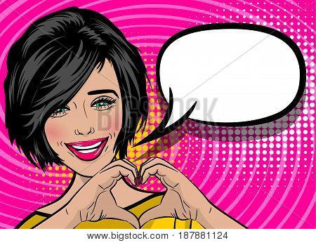 White young woman pop art style show heart by human hands. Colored halftone retro dot background for comic text. Positive smile girl fashion kitch. Saint Valentine love poster banner. Cartoon portrait