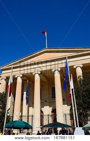 VALLETTA, MALTA - MARCH 30, 2017 - View of the Law Court building along Republic Street aka Triq Ir Repubblika Valletta Malta Europe, March 30, 2017.