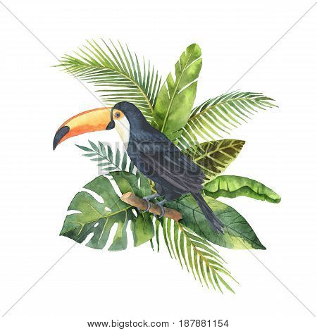 Watercolor bouquet of tropical leaves and the Toucan isolated on white background. Illustration for design wedding invitations, greeting cards, decor.