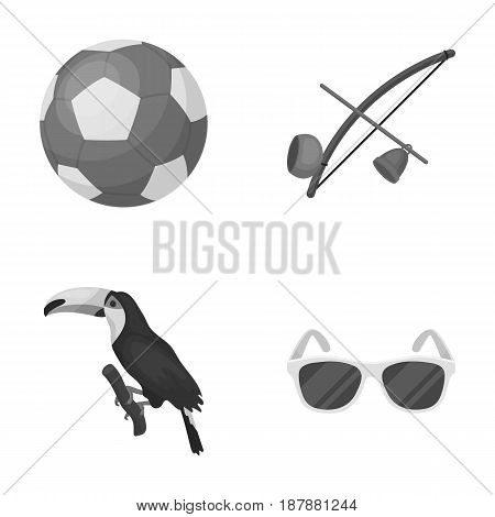 Brazil, country, ball, football . Brazil country set collection icons in monochrome style vector symbol stock illustration .