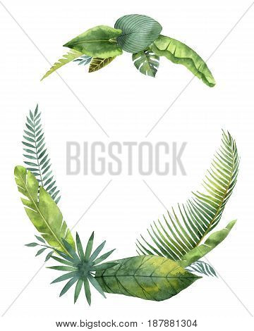 Watercolor wreath tropical leaves and branches isolated on white background. Illustration for design wedding invitations, greeting cards, postcards with space for your text.