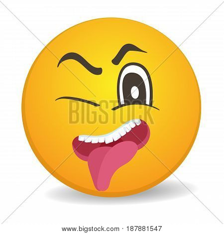 Mischievous 3d round yellow smiley face vector icon. Funny facial expression emoji, cute comic emoticon isolated vector illustration.