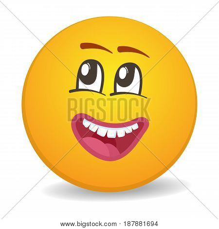 Dreamy 3d round yellow smiley face vector icon. Funny facial expression emoji, cute comic emoticon isolated vector illustration.