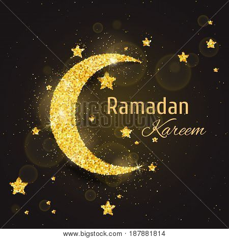 Vector Ramadan Kareem background with sparkling glitter golden textured moon with stars on brown glow background for muslim holy month. Seasonal holidays greeting card template