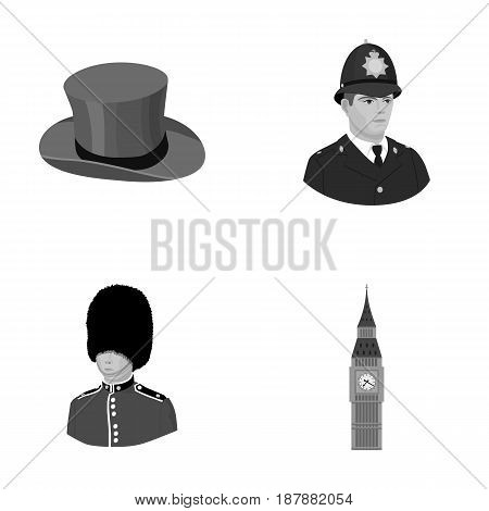 England, gentleman, hat, officer .England country set collection icons in monochrome style vector symbol stock illustration .