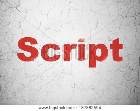 Database concept: Red Script on textured concrete wall background