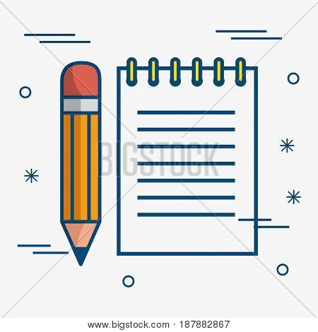 A pencil and a notepad over white background. Vector illustration.