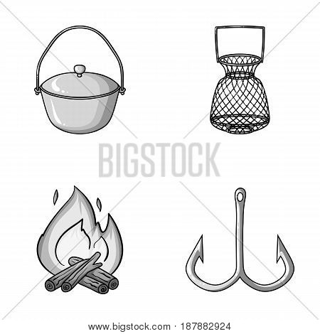 Catch, hook, mesh, caster .Fishing set collection icons in monochrome style vector symbol stock illustration .