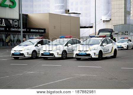 Kiev Ukraine - May 12 2017: Exterior view of patrol police cars parked at the Eurovision 2017