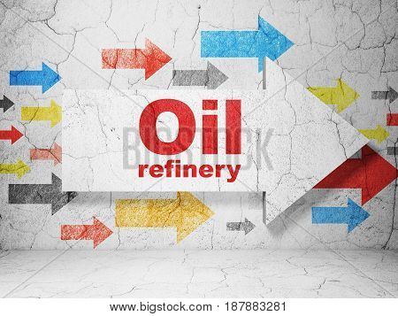 Manufacuring concept:  arrow with Oil Refinery on grunge textured concrete wall background, 3D rendering