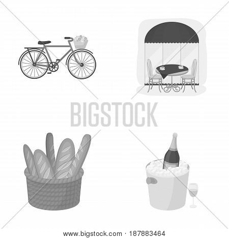 Bicycle, transport, vehicle, cafe .France country set collection icons in monochrome style vector symbol stock illustration .